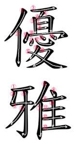 Stroke Order for 優雅