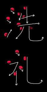 Kanji Stroke Order for 洗礼