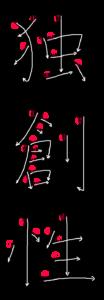 Kanji Writing Stroke Order for 独創性