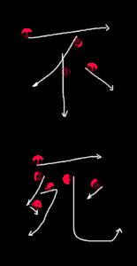 Kanji Writing Stroke Order for 不死