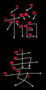 Kanji Writing Stroke Order for 稲妻