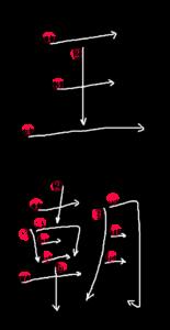 Kanji Writing Stroke Order for 王朝