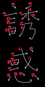 Kanji Writing order for 誘惑