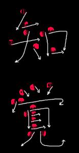 Japanese Kanji Writing Order for 知覚