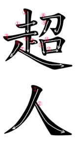 Kanji Stroke Order for 超人