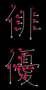 Kanji Stroke Order for 俳優