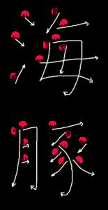 Writing Stroke Order for 海豚