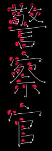 Kanji Stroke Order for 警察官