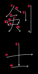 Kanji Stroke order for 剣士