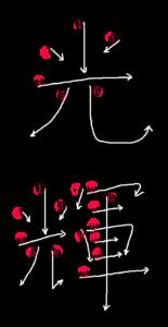 Kanji Stroke order for 光輝