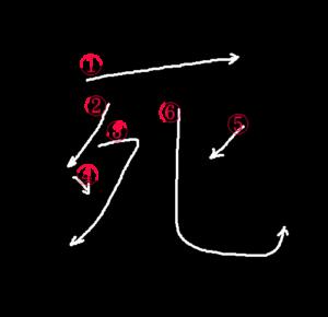 Kanji Writing Order for 死