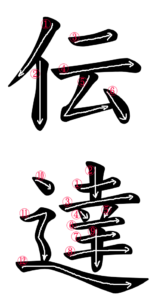 Kanji Stroke Order for 伝達