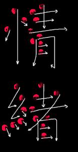 Stroke Order for 情緒