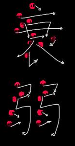 Kanji Stroke Order for 衰弱