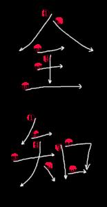 Kanji Stroke Order for 全知
