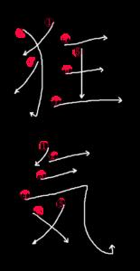 Stroke Order for 狂気