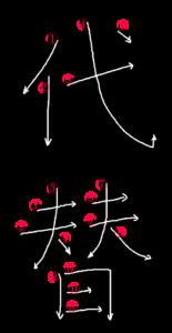 Stroke Order for 代替