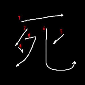 """Jouyou Kanji """"死"""" Stroke Order"""