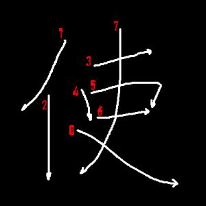 """Jouyou Kanji """"使"""" Stroke Order"""