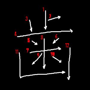 """Jouyou Kanji """"歯"""" Stroke Order"""