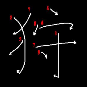 """Jouyou Kanji """"狩"""" Stroke Order"""