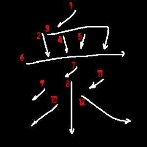 """Jouyou Kanji """"衆"""" Stroke Order"""