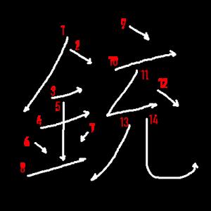 """Jouyou Kanji """"銃"""" Stroke Order"""