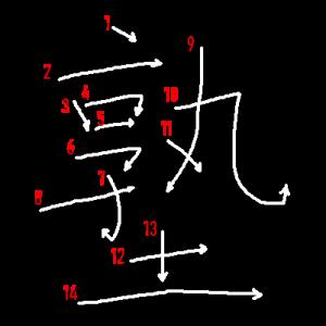 """Jouyou Kanji """"塾"""" Stroke Order"""