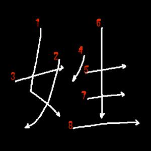 """Jouyou Kanji """"姓"""" Stroke Order"""