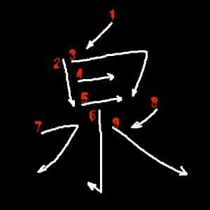 """Jouyou Kanji """"泉"""" Stroke Order"""