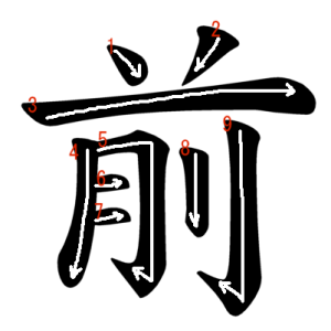 """Jouyou Kanji """"前"""" Stroke Order"""