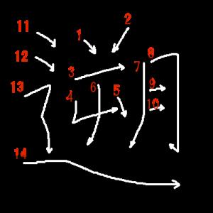 """Jouyou Kanji """"遡"""" Stroke Order"""