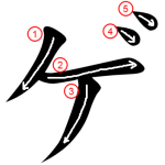 "Katakana ""ゲ-ge"" Stroke Order"
