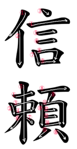 Stroke Order for 信頼