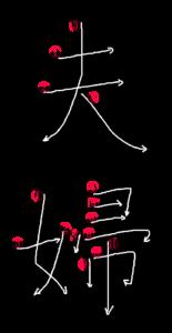 Kanji Stroke Order for 夫婦
