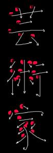 Kanji Stroke Order for 芸術家