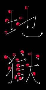 Kanji Writing Order for 地獄