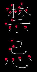 Kanji Writing Order for 禁忌
