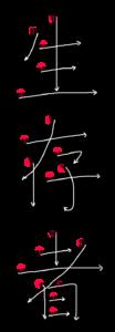 Kanji Stroke order for 生存者