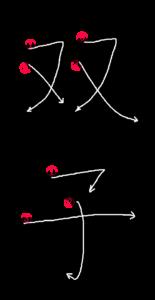 Kanji Writing Stroke Order for 双子