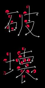 Kanji Writing Stroke Order for 破壊