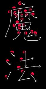 Kanji Writing Stroke Order for 魔法