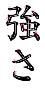 Writing Stroke Order for 強さ