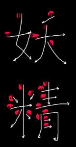 Kanji Writing Order for 妖精