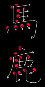 Kanji Stroke Order for 馬鹿