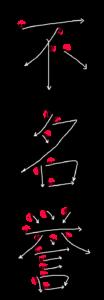 Kanji Stroke order for 不名誉