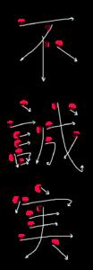 Kanji Stroke Order for 不誠実