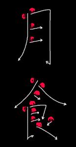 Kanji Stroke Order for 月食