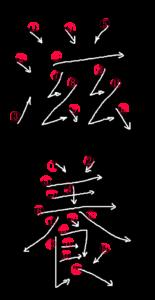 Kanji Stroke Order for 滋養