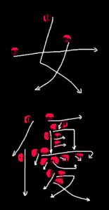 Japanese Word Stroke Order for 女優